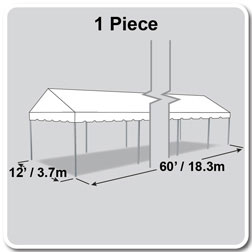12' x 60' Classic Series Gable End Frame Tent, 1 Piece Tent Top, Complete