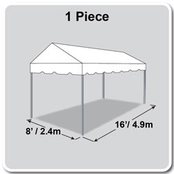 8' x 16' Classic Series Gable End Frame Tent, 1 Piece Tent Top, Complete