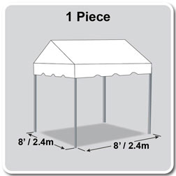 8' x 8' Classic Series Gable End Frame Tent, 1 Piece Tent Top, Complete