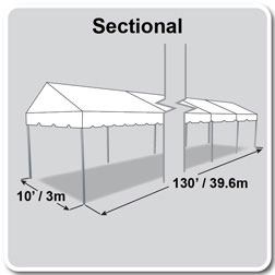10' x 130' Classic Series Gable End Frame Tent, Sectional Tent Top, Complete