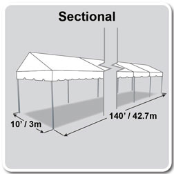 10' x 140' Classic Series Gable End Frame Tent, Sectional Tent Top, Complete
