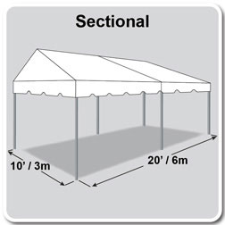 10' x 20' Classic Series Gable End Frame Tent, Sectional Tent Top, Complete