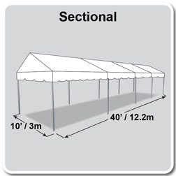 10' x 40' Classic Series Gable End Frame Tent, Sectional Tent Top, Complete