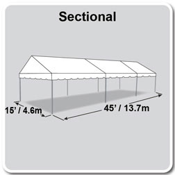 15' x 45' Classic Series Gable End Frame Tent, Sectional Tent Top, Complete