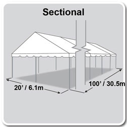 20' x 100' Classic Series Gable End Frame Tent, Sectional Tent Top, Complete