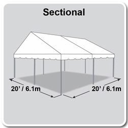 20' x 20' Classic Series Gable End Frame Tent, Sectional Tent Top, Complete