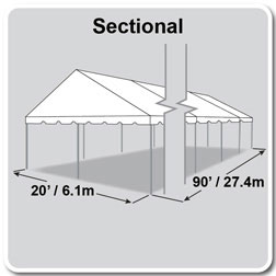 20' x 90' Classic Series Gable End Frame Tent, Sectional Tent Top, Complete