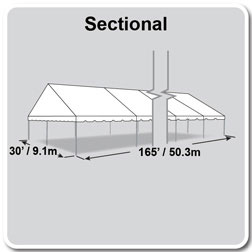 30' x 165' Classic Series Gable End Frame Tent, Sectional Tent Top, Complete