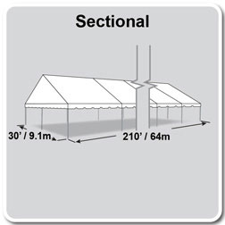 30' x 210' Classic Series Gable End Frame Tent, Sectional Tent Top, Complete