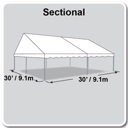 30' x 30' Classic Series Gable End Frame Tent, Sectional Tent Top, Complete