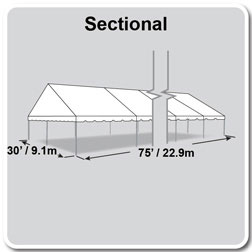 30' x 75' Classic Series Gable End Frame Tent, Sectional Tent Top, Complete