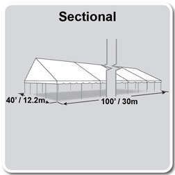 40' x 100' Classic Series Gable End Frame Tent, Sectional Tent Top, Complete