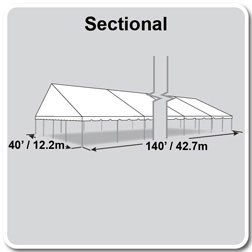 40' x 140' Classic Series Gable End Frame Tent, Sectional Tent Top, Complete