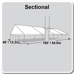 40' x 180' Classic Series Gable End Frame Tent, Sectional Tent Top, Complete