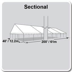 40' x 200' Classic Series Gable End Frame Tent, Sectional Tent Top, Complete
