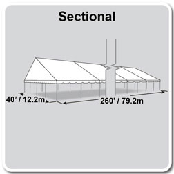 40' x 260' Classic Series Gable End Frame Tent, Sectional Tent Top, Complete
