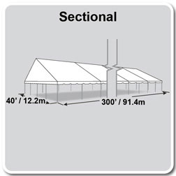 40' x 300' Classic Series Gable End Frame Tent, Sectional Tent Top, Complete