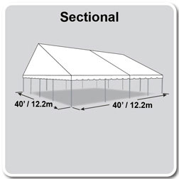 40' x 40' Classic Series Gable End Frame Tent, Sectional Tent Top, Complete