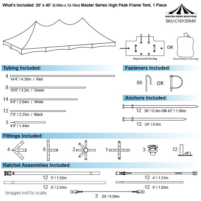 20 X 40 One Piece Master Series High Peak Frame Tents