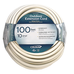 100' White Extension Cord 10/3
