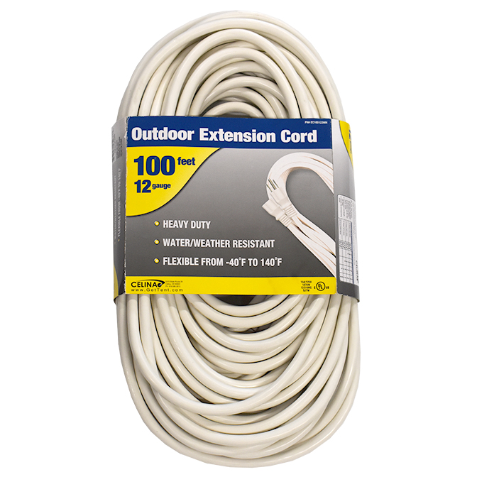 100 Foot White Extension Cord 12 Gauge