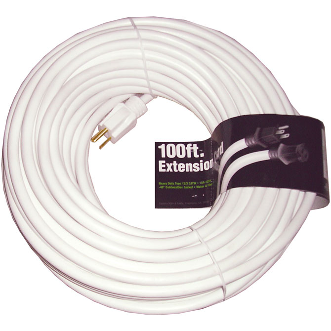 100 foot White Extension Cord, 12 gauge