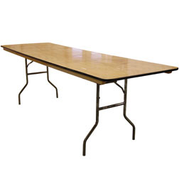 "8' x 30"" Wood Banquet Table"