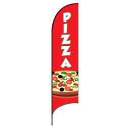Pizza (Red) Feather Flags