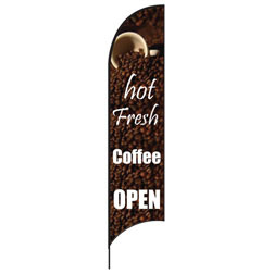 Hot Fresh Coffee Open Feather Flags