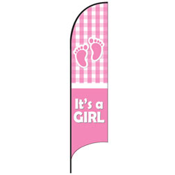 It's a Girl (Plaid) Feather Flags