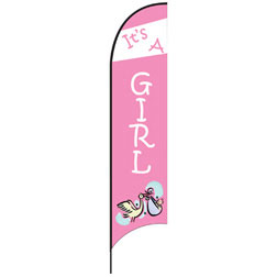 It's a Girl (Stork) Feather Flags