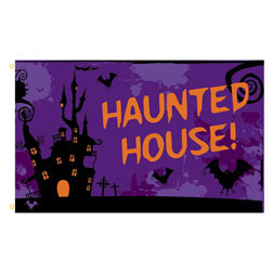 Haunted House Rectangle Flags