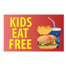 Kids Eat Free Rectangle Flags