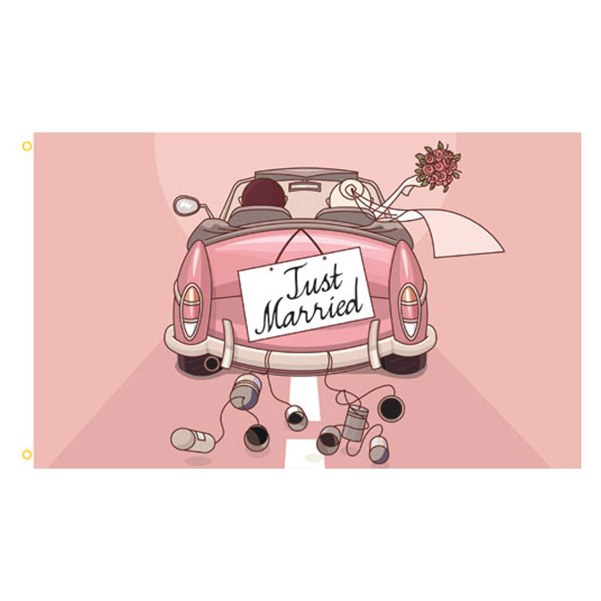Just Married Car Rectangle Flag