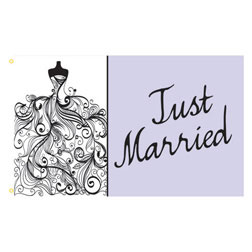 Just Married Dress Rectangle Flags