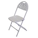 White Fan Back Folding Chair