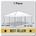 15' x 20' Classic Series Pole Tent, 1 Piece Tent Top, Complete