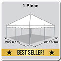 20' x 20' Classic Series Pole Tent, 1 Piece Tent Top, Complete
