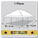 20' x 40' Classic Series Pole Tent, 1 Piece Tent Top, Complete