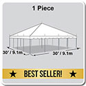 30' x 30' Classic Series Pole Tent, 1 Piece Tent Top, Complete