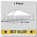 30' x 40' Classic Series Pole Tent, 1 Piece Tent Top, Complete