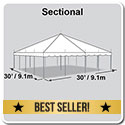 30' x 30' Classic Series Pole Tent, Sectional Tent Top, Complete