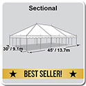 30' x 45' Classic Series Pole Tent, Sectional Tent Top, Complete