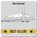 40' x 100' Classic Series Pole Tent, Sectional Tent Top, Complete