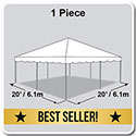20' x 20' Classic Series Frame Tent, 1 Piece Tent Top, Complete