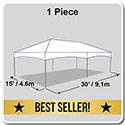 15' x 30' Master Series Frame Tent, 1 Piece Tent Top, Complete