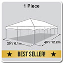 20' x 40' Master Series Frame Tent, 1 Piece Tent Top, Complete