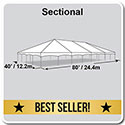 40' x 80' Master Series Frame Tent, Sectional Tent Top, Complete