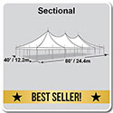 40' x 80' Premiere I Series High Peak Pole Tent, Sectional Tent Top, Complete