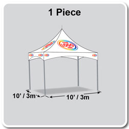 10' x 10' Pinnacle Series High Peak Frame Tent / Cross Cable Marquee Logo Print